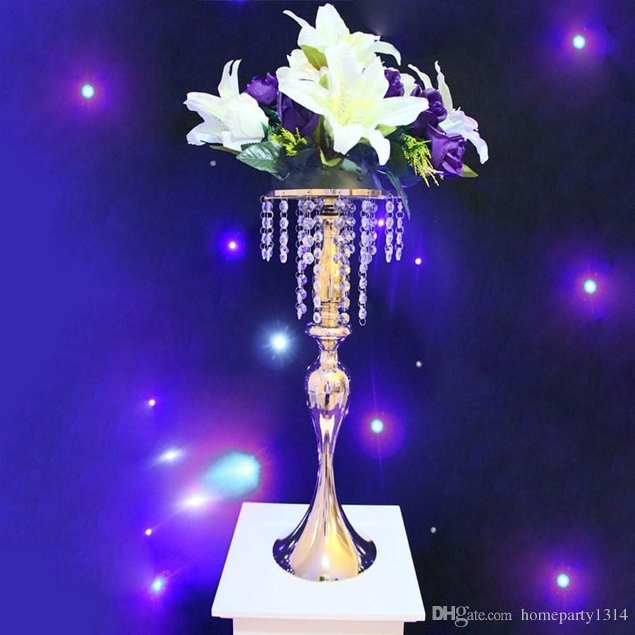 Moda Luxxury Casamento Mesa Centerpieces Flor Flor Vaso Cremalheira de Display Cystal para DIY Grinalda Decoração Do Bolo Stand Flower Road Lead