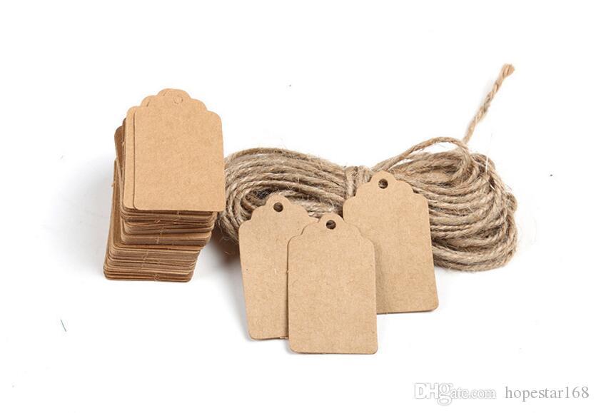 DIY Kraft Kağıt Vintage Etiketler Kahverengi Dantel Tarak Kafa Etiket Bagaj Düğün Not Boş fiyat Asmak etiketi Kraft Hediye 5x3 cm 100 Adet / grup