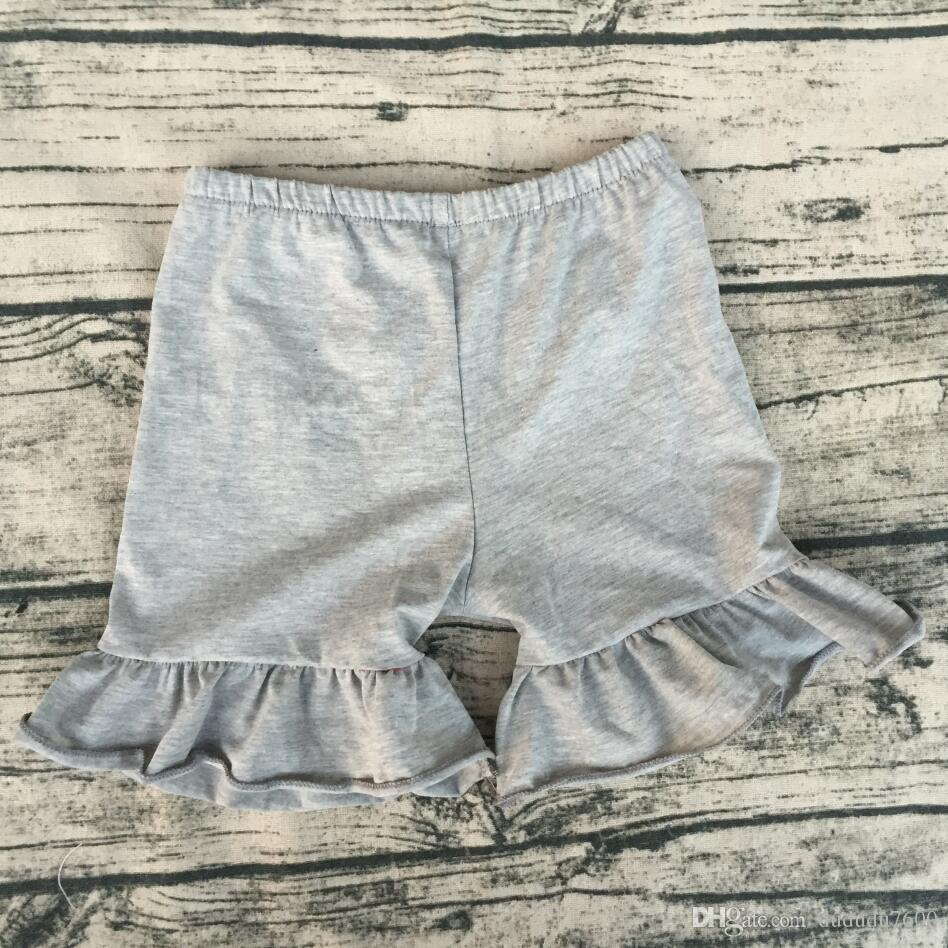 Childrens Boutique Clothing Baby Girls Cotton Fabric Single Layer Ruffle Shorts Wholesale