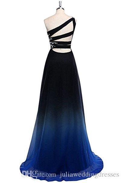 2017 New Gradient Chiffon Prom Dresses One Shoulder A Line Floor-Length Party Dress Floor-Length Evening Formal Long Party Gown QC437