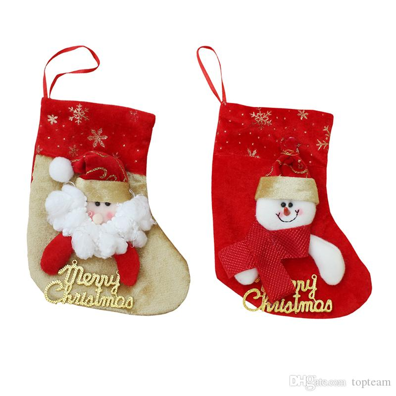 wholesale christmas decorations stocking santa claus deer snowman socks high quality can hang christmas stocking santa tree decoration outdoor christmas - Outdoor Christmas Decorations Wholesale