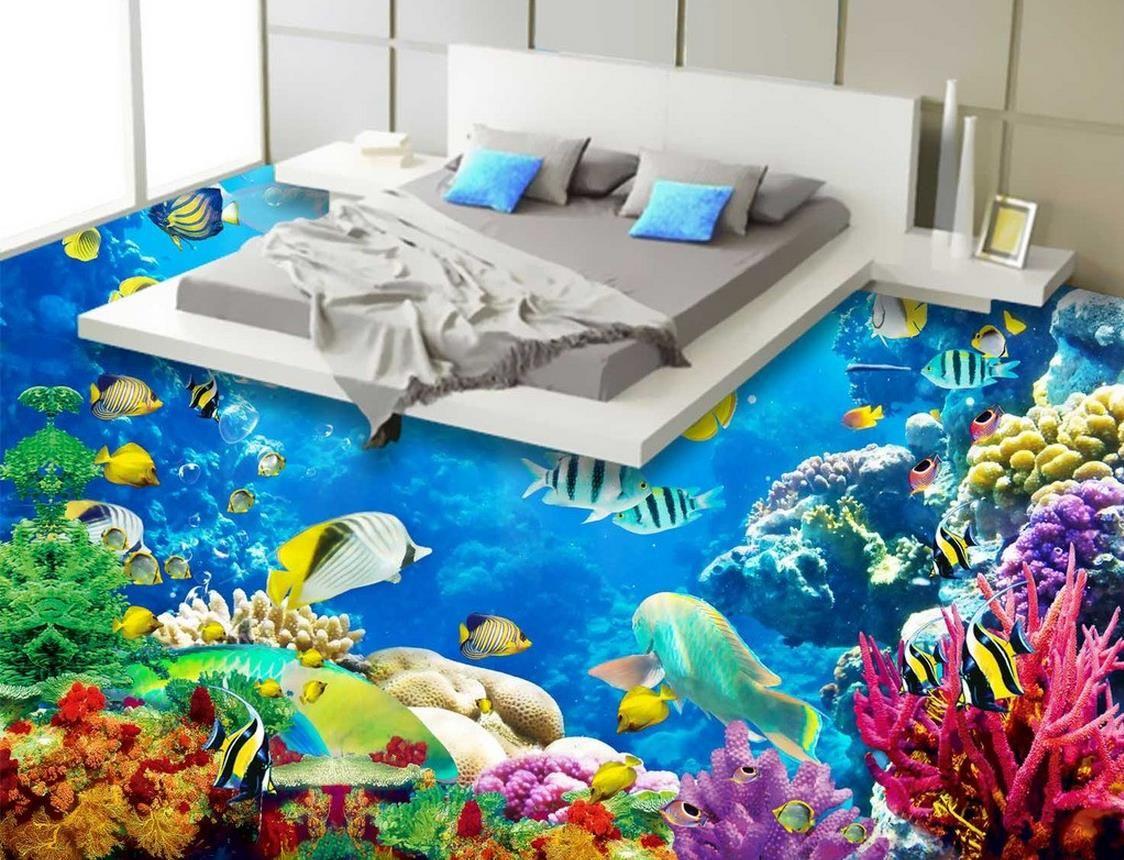 waterproof wallpaper for bathroom wall underwater world coral sea, Badezimmer ideen