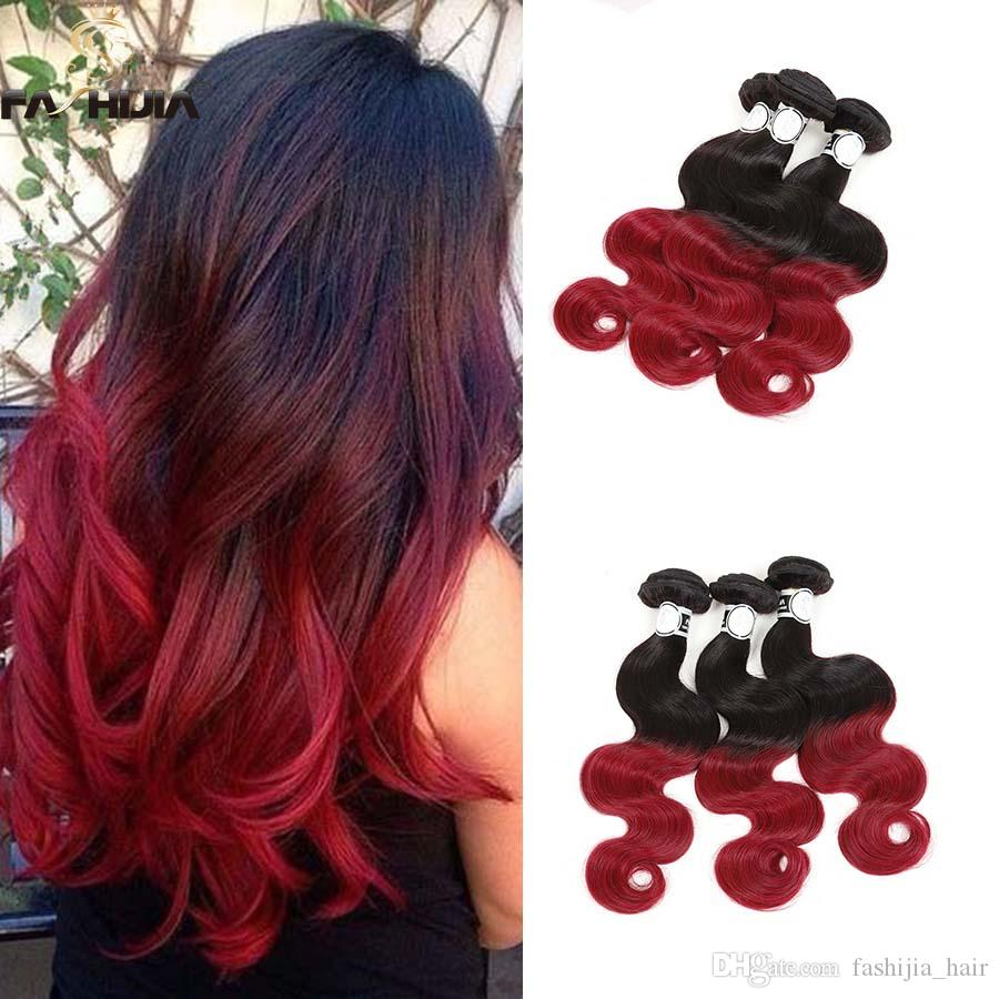 Beauty Red Ombre 100 Virgin Human Hair Extension Brazilian Body