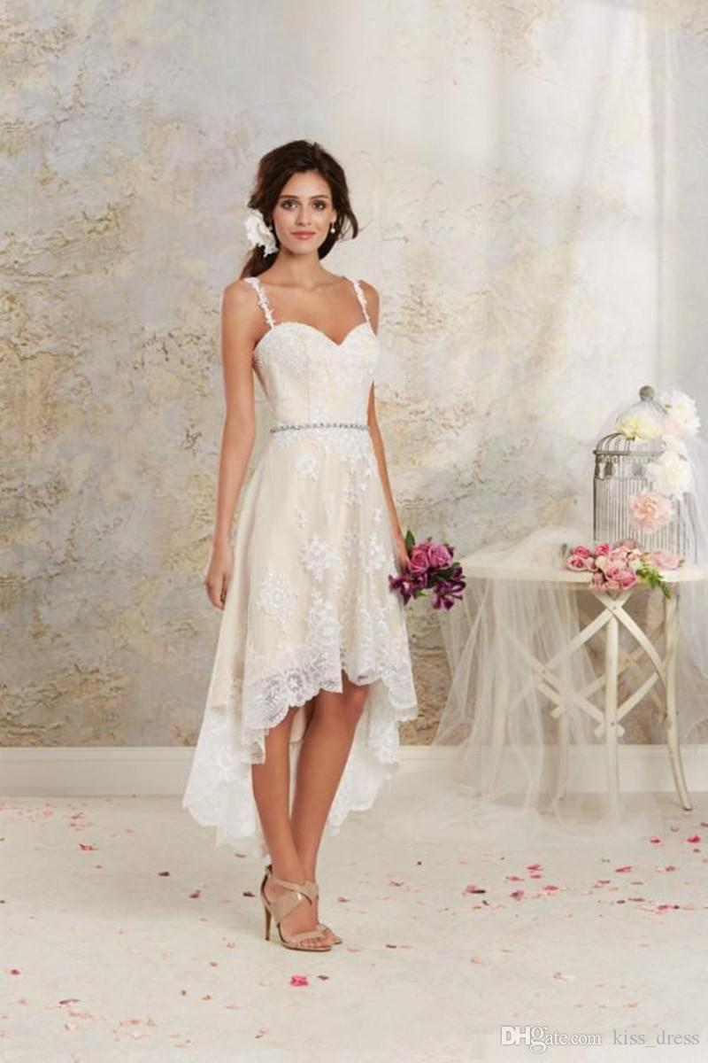 Discount newest design high low wedding dresses 2017 summer discount newest design high low wedding dresses 2017 summer detachable skirt applique beaded sash spaghetti strap lace bridal gowns custom made w1515 sexy ombrellifo Choice Image