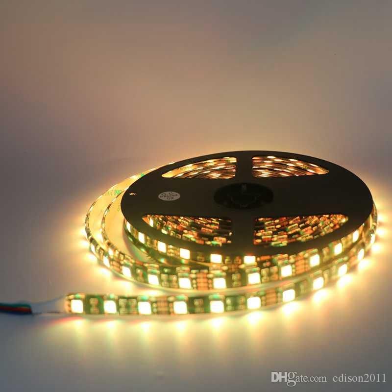 Siyah PCB LED Şerit 5050 IP65 Su Geçirmez DC12V 60LED / m 5 m / grup Esnek LED Işık Beyaz Sıcak Beyaz