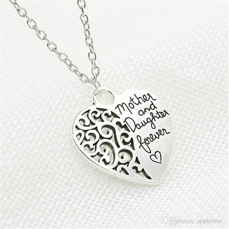 24c0fb360 pendentifs collier mère et fille pour toujours bijoux collier femmes dames  pas cher bijoux coeur charme pendentif colliers gros chaud
