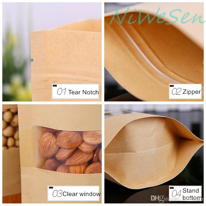 20X30cm X Brown kraft paper ziplock bag stand up, front transparent window craft paper plant seed package pouch reusable-candy sack