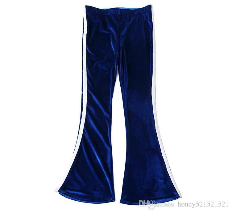 Европейская мода женская сексуальная полоса пэчворк бархатная трубка верхняя сумба куропатка топ и бархат длинные вспышки брюки Twinset спортивный костюм