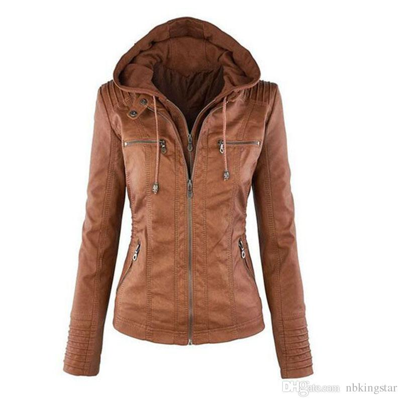 Women'S Pu Leather Jacket Hooded Lapel Zipper Pockets Removable ...