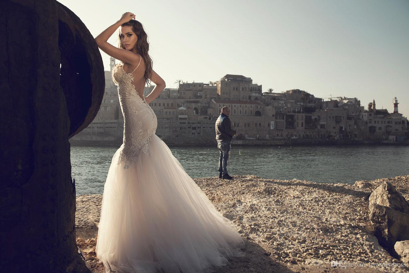 Mermaid Wedding Dress Tulle Gown Backless Sexy Sleeveless Spaghettis Applique Elegant Floor Length Custom Made Bridal Gown Cheap Price