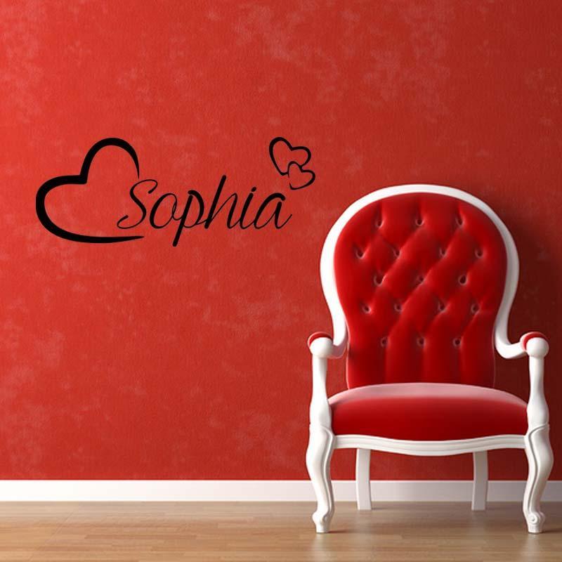 ل شخصية اسم جدار الفن الحب قلوب للإزالة الفينيل صائق ملصقا الفتيات غرفة نوم تزيين diy