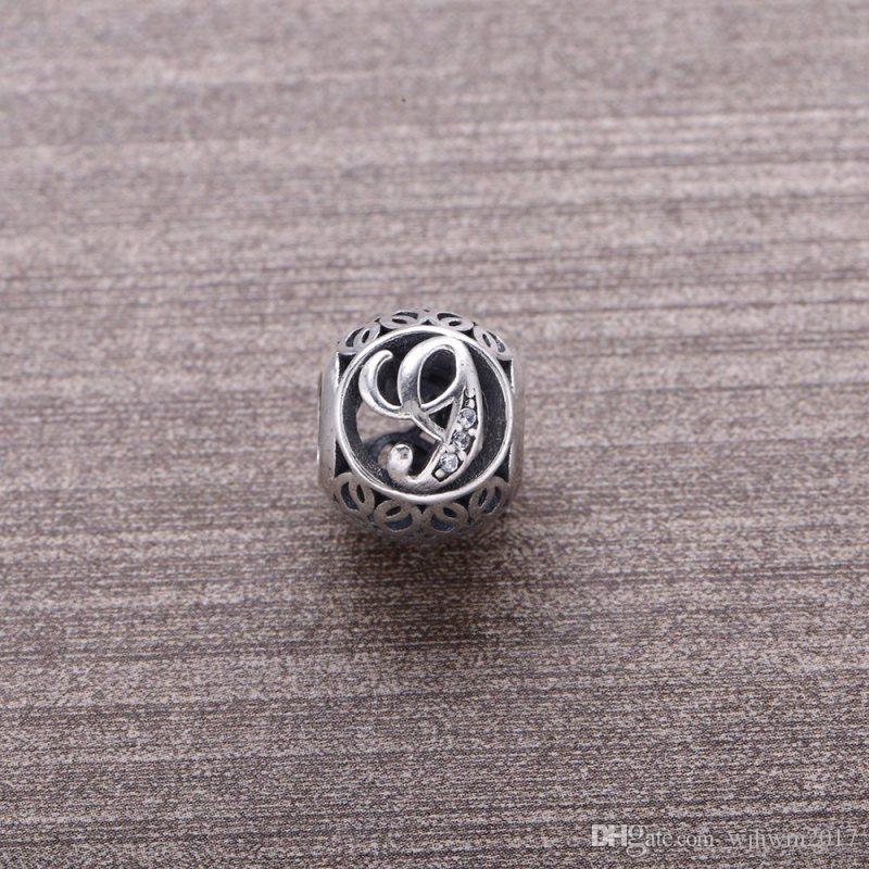 DIY Silver Bead Letter G Europe Popular Real 925 Sterling Silver Letter Beads Charms Fit Pandora Bracelets Jewelry Accessories