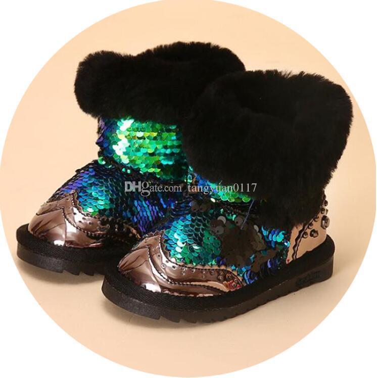 Winter Schnee Pelz Kinder Gummischuhe Kleinkind Mit Mädchen Von Gummistiefel Großhandel Bling Prinzessin Stiefeletten Schuh BdCexQorWE