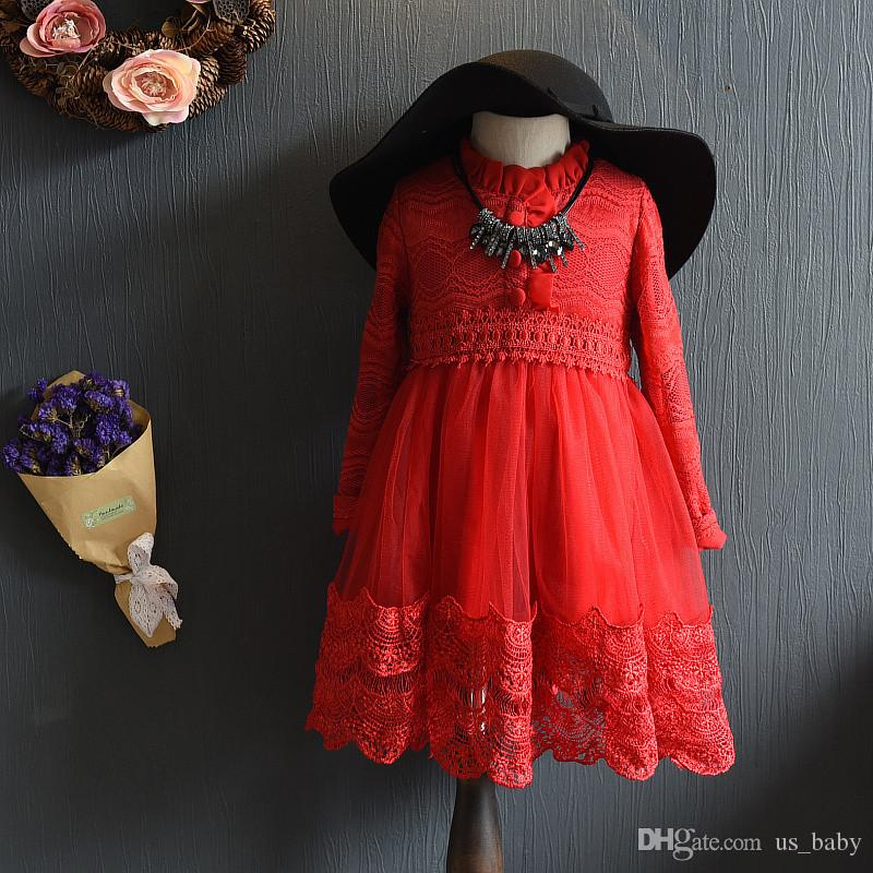747013fa3a2b Kids Girl Christmas Cotton Lace Dress Baby Girls Spring Autumn Lace ...