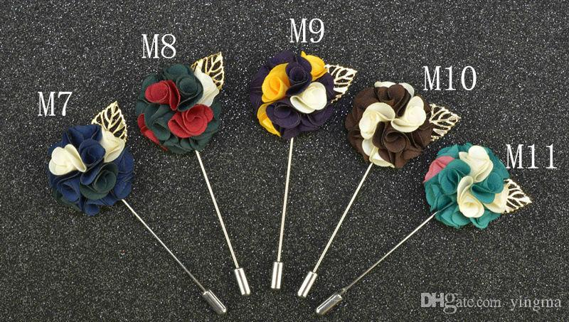 Fashion Men Brooch Flower Lapel pin suit Boutonniere fabric yarn pin button metal Leaves Broochers for male Groomsmen wedding wholesale