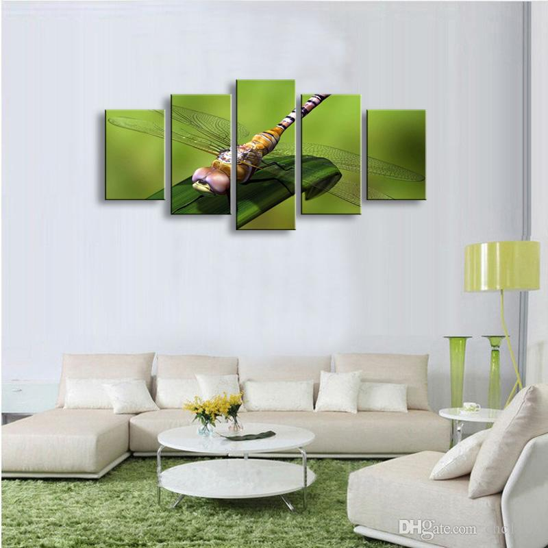 5 Panel dragonfly Painting Canvas Wall Art Picture Home Decoration Living Room Canvas Print Modern Painting--Large Canvas Art Cheap SD-001