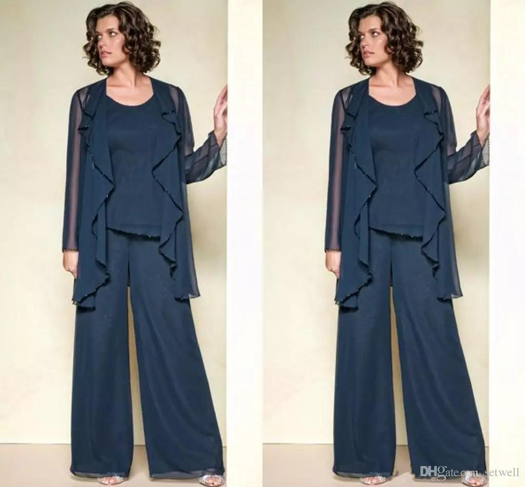 88ad93648e29 Elegant Chiffon Mother Of The Bride Pant Suits with Jacket Formal ...