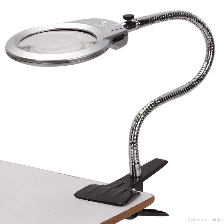 Lampada da tavolo LED Lampada da tavolo Lente d'ingrandimento con morsetto Lampada da tavolo con braccio flessibile a clip bianco