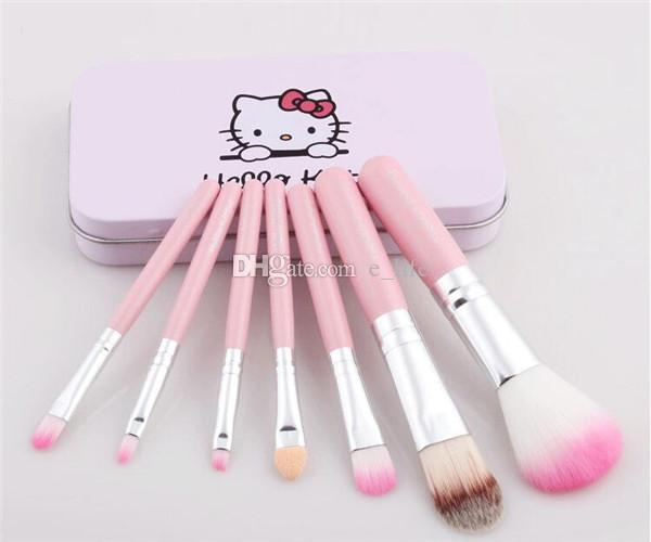 Best price set Hello kitty Make Up Cosmetic Brush Kit Makeup Brushes Pink & black beauty appliances makeup brush in stock DHL FREE