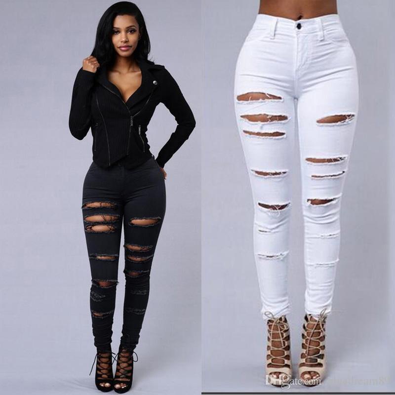 90a025a38156 Acheter Slim Jeans Élastiques Pour Les Femmes Taille Haute Trou Déchiré  Plus La Taille Des Femmes Fines Jeans Minces Pieds Pantalons Noir Skinny  Taille ...