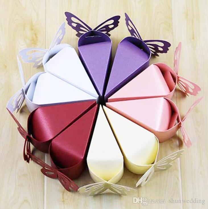 Butterfly Favor Gift Candy Boxes Cake Style for Wedding Party Baby Shower 5 colors free shipping