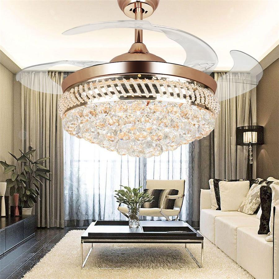 Modern LED Invisible Retractable Crystal Fan Light Remote Control Acrylic Blade Ceiling Fan Lamp 42 inch Lighting Fan Chandelier Led Lights