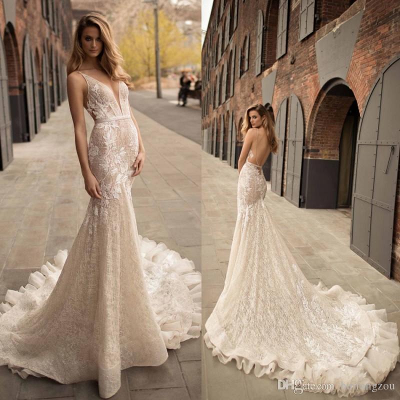 Berta 2018 Plunging Neckline Mermaid Wedding Dress Delicate Sash ...