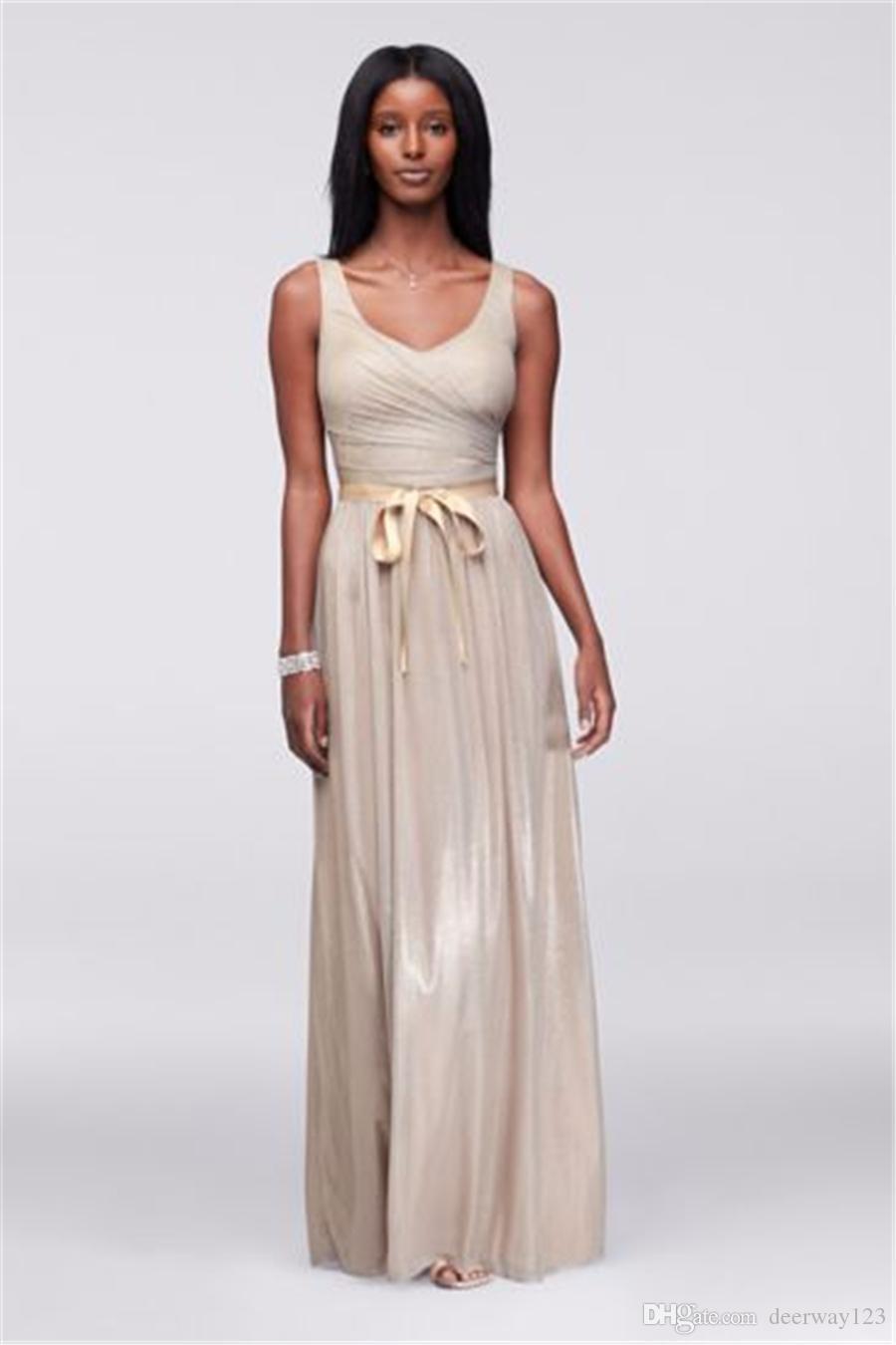 Geraffte V-Ausschnitt Bodice Metallic-Folie Abendkleid mit geraffte Taille Champagne Bodenlänge 263343 Prom Dresses vestido de festa curto