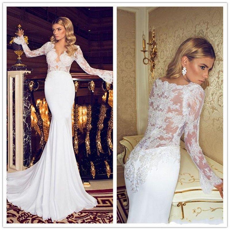 2019 New Mermaid Chiffon Beach Wedding Dresses Sexy V-Neck Long Sleeves Elegant Lace Wedding Bridal Gowns Sweep Train 2017 Hot Sale 053