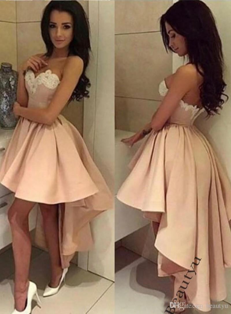 Lace high low cocktail dresses above knee pleats satin prom lace high low cocktail dresses above knee pleats satin prom homecoming graduation party gowns short dress sexy club 2017 fast shipping cheap cocktail ombrellifo Image collections