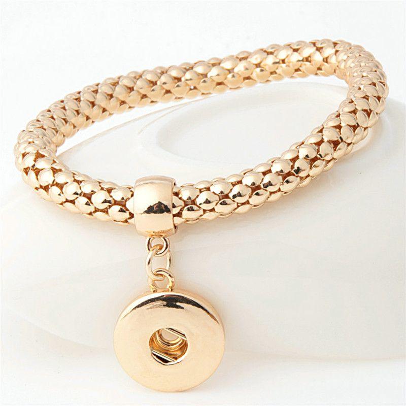 Snap Schmuck Noosa Chunk 18mm Metallknopf elastisches Armband Ingwer Snap Schmuck Anweisung Schmuck Druckknopf Armband Charm austauschbar