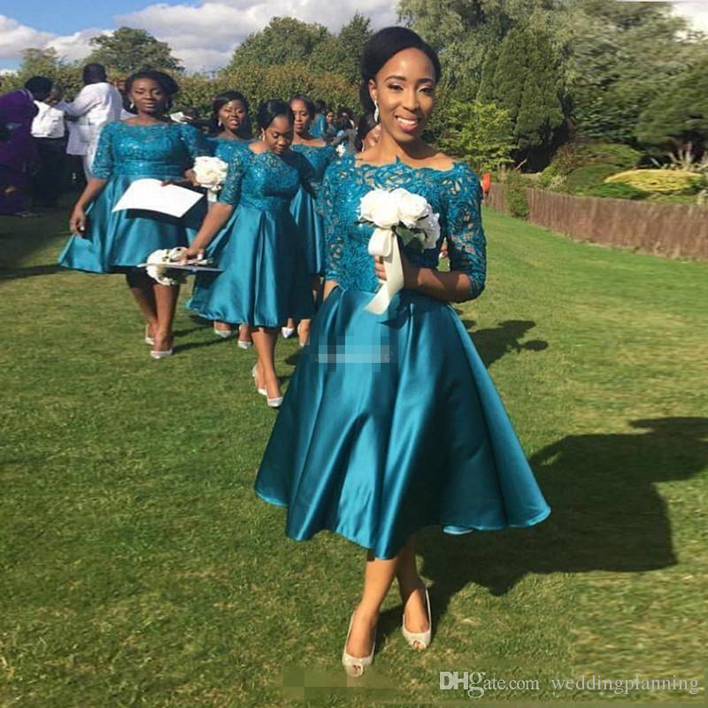 Teal Tea Length Bridesmaid Dresses with Half Sleeve Vintage Lace A-Line 2017 Sheer Bateau Wedding Guest Dress Mother Party Gowns Formal Wear