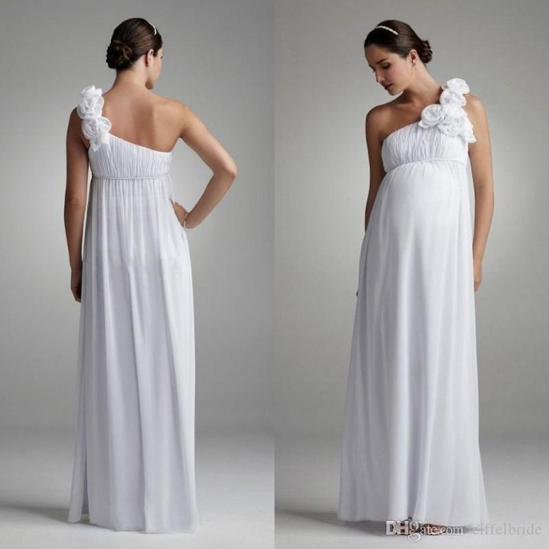 Discount Beach Maternity Wedding Dresses For Bride One Shoulder ...