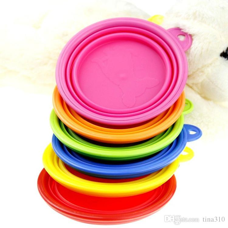 Fashion Environmental Dogs Cats Pets bowls Travel Feeding Food UP Collapsible bowl Plastic Silicone Folding Portable Bowls Feeder IA032