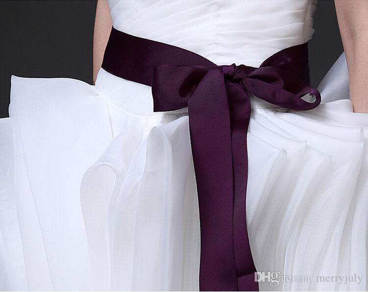 2017 270 cm Long Simple Ruban Ceinture pour Robe De Mariée Formelle Ceintures De Mariée Pour Prom Soirée Bourgogne Blanc Rouge Noir Blush Rose Ivoire