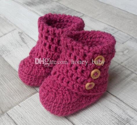 Crochet baby boys girls knitted boots snow booties newborn infant toddlers prewalker first walker shoes indoor flattie booties cotton yarn