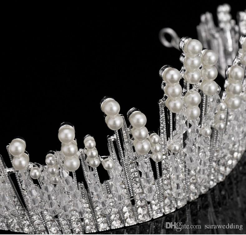 New Fashion High Quality Alloy Pearls Bridal Crown 2017 For Women Pageant Prom Tiaras Headdress Hair Wear Jewelry