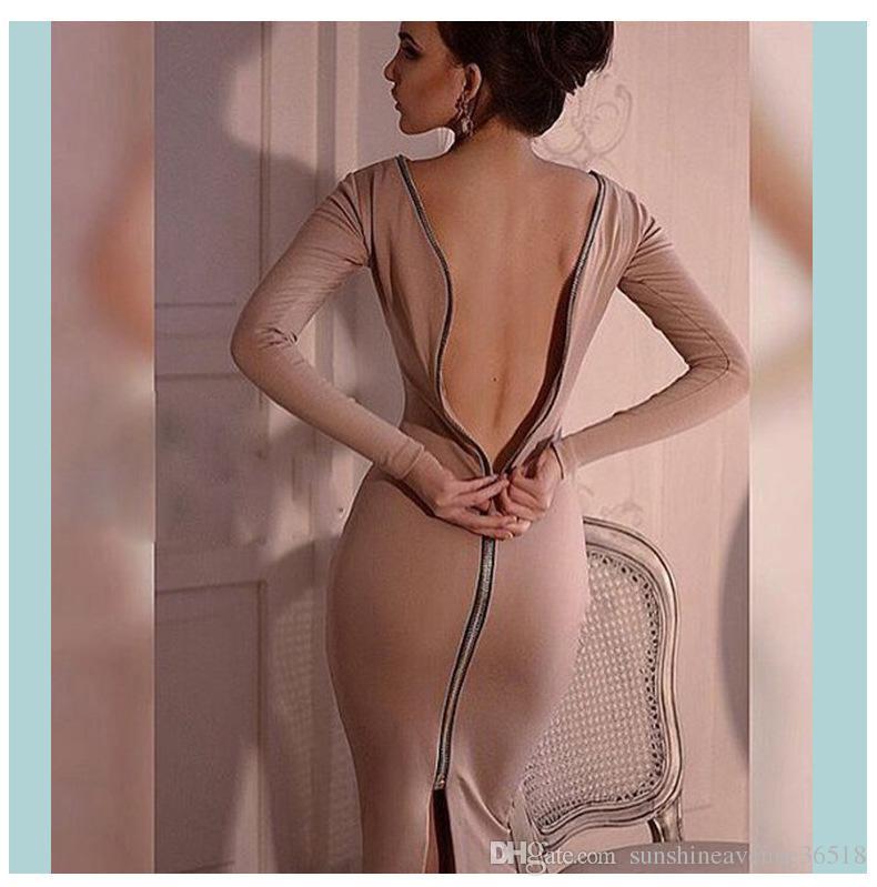 2019 горячая распродажа мода OL рабочее платье осень зима с длинным рукавом женские платья твердые простые спинки молния повседневная одежда