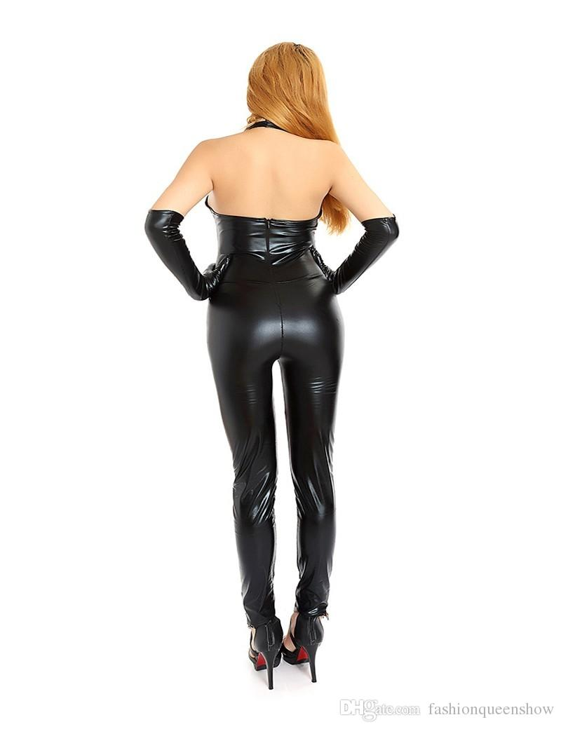 Halter Women Catsuit Black Faux Leather Bodysuits Sexy Jumpsuit Pole Dancing Clubwear Stripper Costume Backless Teddies