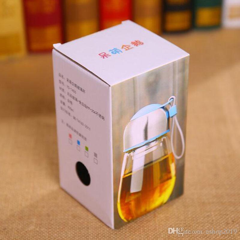 Populaire bouteille d'eau en verre 400ML tasse en verre de forme de pingouin avec le thé infuseur Sac cadeau sport étudiants Coupe Bootle Bouteilles tasse de voyage
