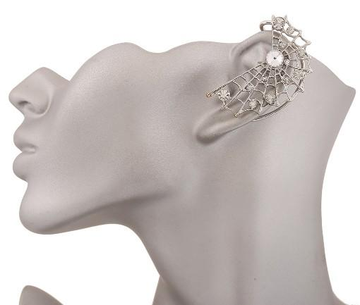 Spider Net Ear Cuff Piercing argento placcato oro strass Stud avvolge orecchini orecchini a bottone gioielli gotici