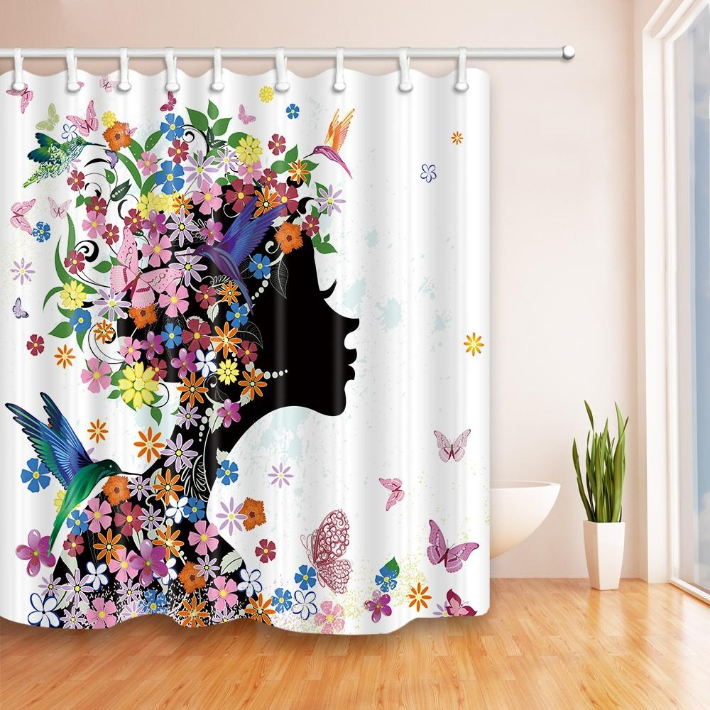 2019 Beautiful Butterfly Girl Fashion Shower Curtain 70 X In Mildew Resistant Waterproof Polyester Bathroom Accessories Hanging Curtains From Party8