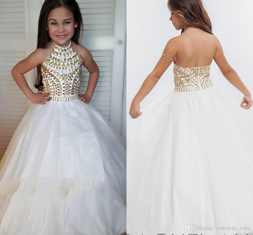 White Ball Gown Girls Pageant Dresses High Neck Halter Gold ...