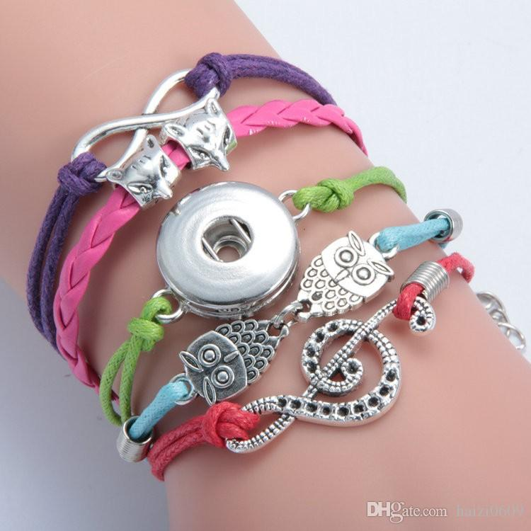 Noosa Mix Style Snap Infinity Leather Bracelet Jewelry Fit 18mm Ginger Snaps Chunk Charm Button