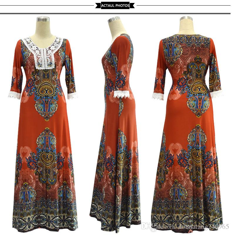 Vintage Dashiki Dress Embroidery V Neck 3/4 Sleeve African Clothing Long Maxi Milk Silk Dress African Print Dresses for Women