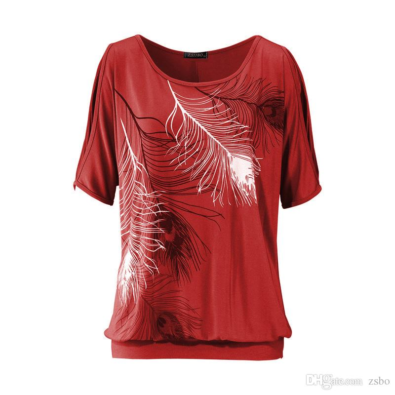 2017 Cold Shoulder Feather Imprimir Camisas para As Mulheres T-Shirt Ocasional Do Verão Menina Tee Tshirt Solto Top plus size camiseta NV29 RF