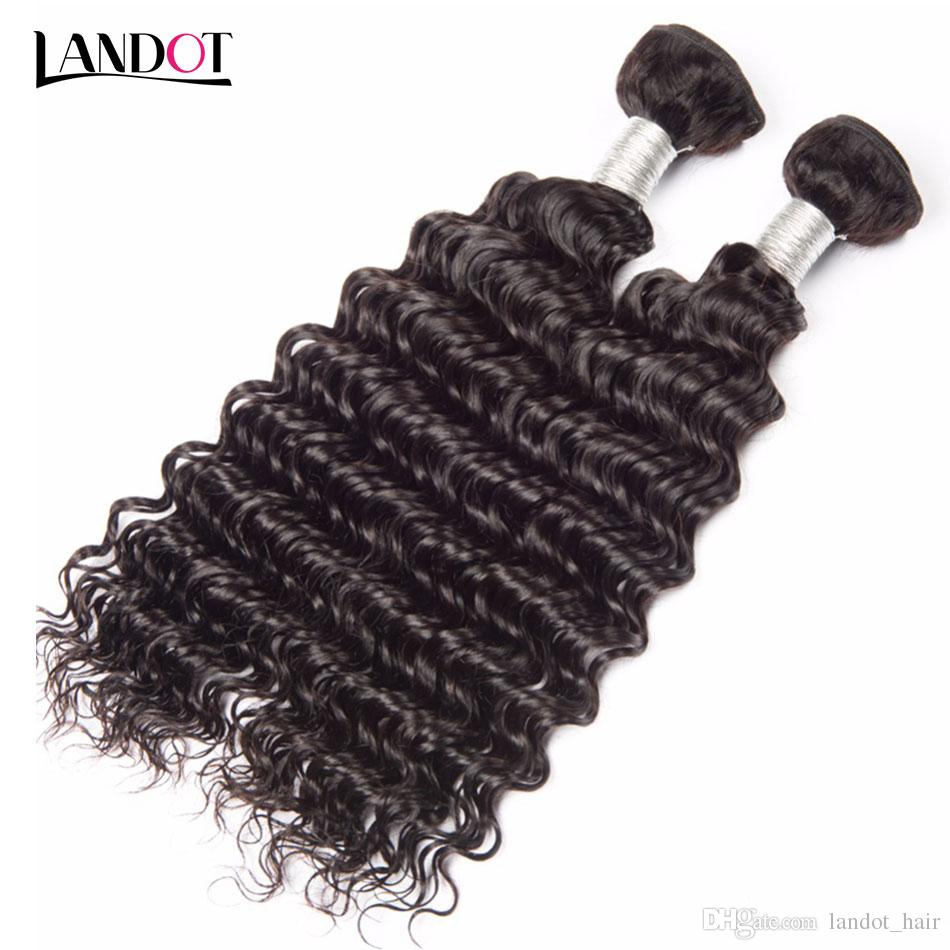 Brazilian Deep Wave Curly Virgin Human Hair Weaves Bundles Unprocessed Peruvian Malaysian Indian Cambodian Brazillian Curly Hair Extensions