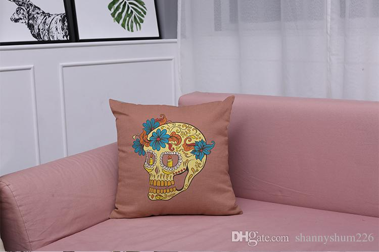 Novelty Skull Linen Cushion Cover Home Office Sofa Square Pillow Case Decorative Cushion Covers Pillowcases Without Insert18*18Inch