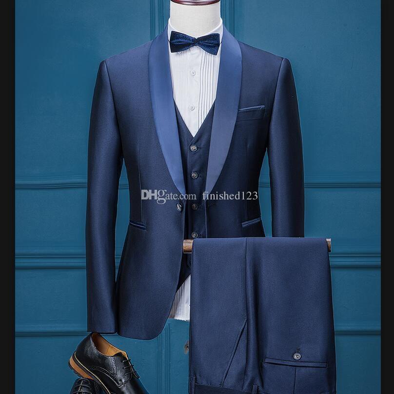Damat Smokin Groomsmen Bir Düğme Şal Yaka Best Man Suit Düğün erkek Blazer Suits Custom Made Ceket + Pantolon + Yelek + Kravat K176