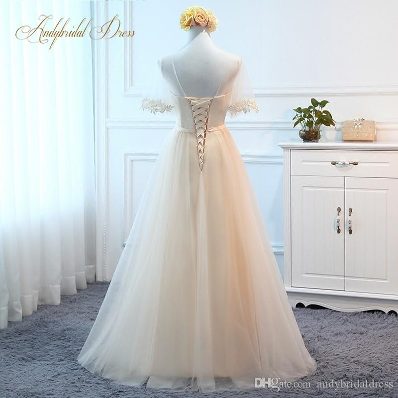 Wholesale ! A Line Short Sleeve Sheer Neck Lace Applique Cheap Prom Dresses Long Formal Party Gowns Evening Wear Fast Shipping
